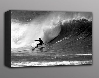 Surfing a Wave Photo Canvas Print California Surfer Black and White Photography