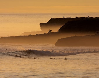 Surfers at Sunset Photo Print Surfing Home Decor