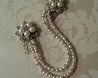 Bridal Floral Ivory Pearl Diamante Double Draping Hair Comb Forehead Bun Wrap Vintage