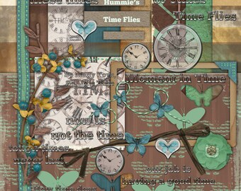 Digital Scrapbooking Kit Time Flies