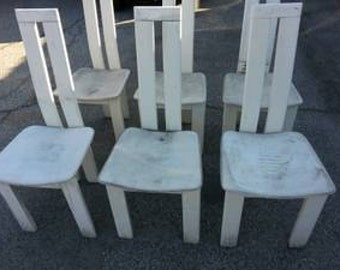 "Vintage Italian Pietro Costantini Tripod White Lacquered Dinning Chairs ""SOLD""AS IS 6pc Set"