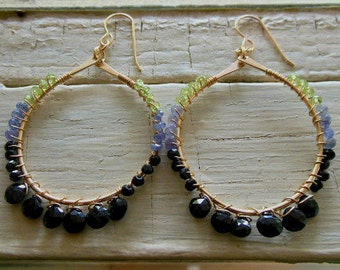 14k gold fill hammered hoop with wire wrapped faceted black spinel, tanzanite and peridot
