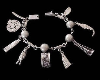 Antique Mexican Sterling Silver Linked Charm BRACELET Marked SILVER MEXICO Classic Modernist Design