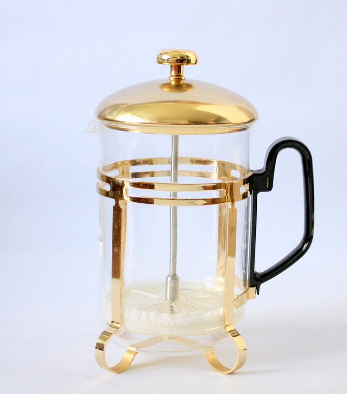Vintage Hario French Coffee Press TH-6 With 5 Glasses