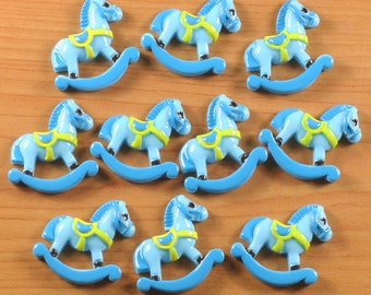 Lot 10pcs Cute Blue Rocking Horse Hat Resin Cabochon Flatbacks Flat Back Scrapbooking Hair Bow Center Crafts Making