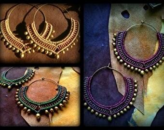 Tribal Macrame Jewelry / Hoop Earrings / Macrame Earrings / Brass Beads