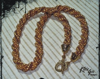 125 Tan On Brown Bead Woven Necklace