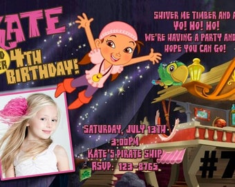Izzy and Jake and Neverland Pirates Birthday Party Digital Invitation 4x6 or 5x7