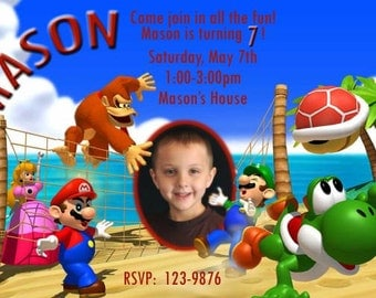 Super Mario Brothers Birthday Party Invitation, Mario Brothers Digital Invitation, Mario Invitation 4x6 or 5x7