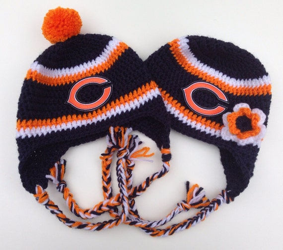 Free Crochet Pattern For Chicago Bears C : Chicago Bears Crochet Hat by CraftyIAmKnot on Etsy