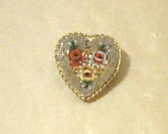 Vintage Italian Mosaic Heart Pin