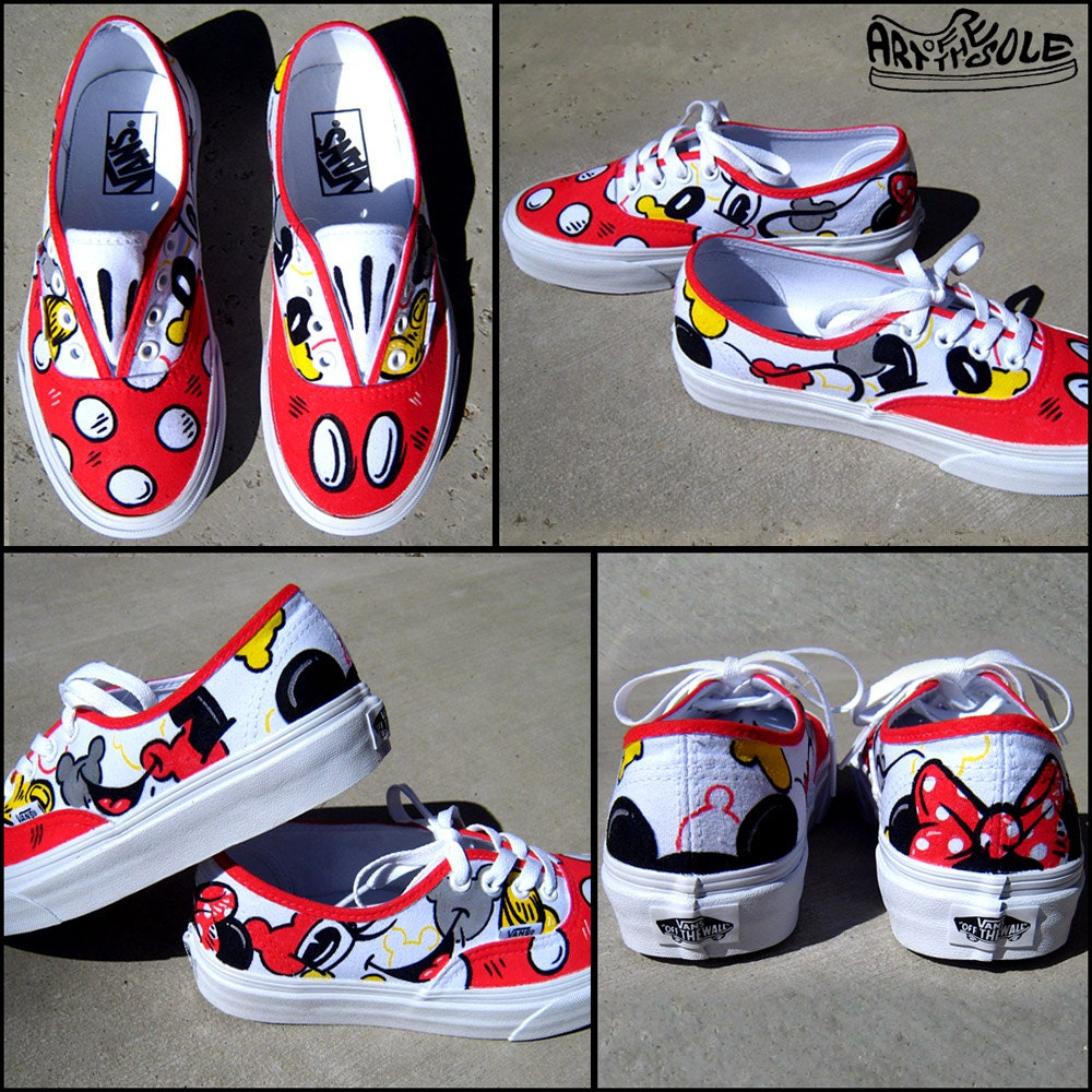 Mickey Loves Minnie Hand Painted Vans Shoes for Girls/Women
