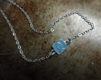 Enamel fish charm necklace sterling silver