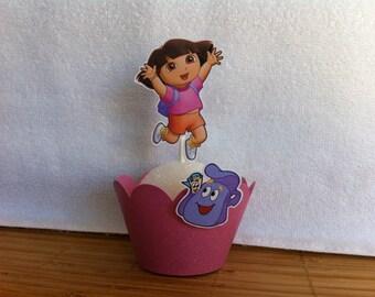 Dora cupcake topper and wrapper