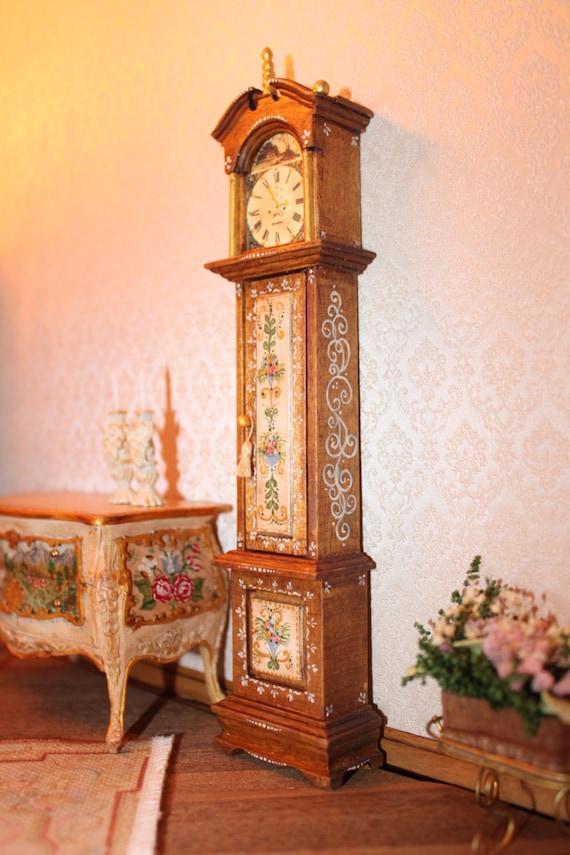 Miniature grandfather clock handpainted