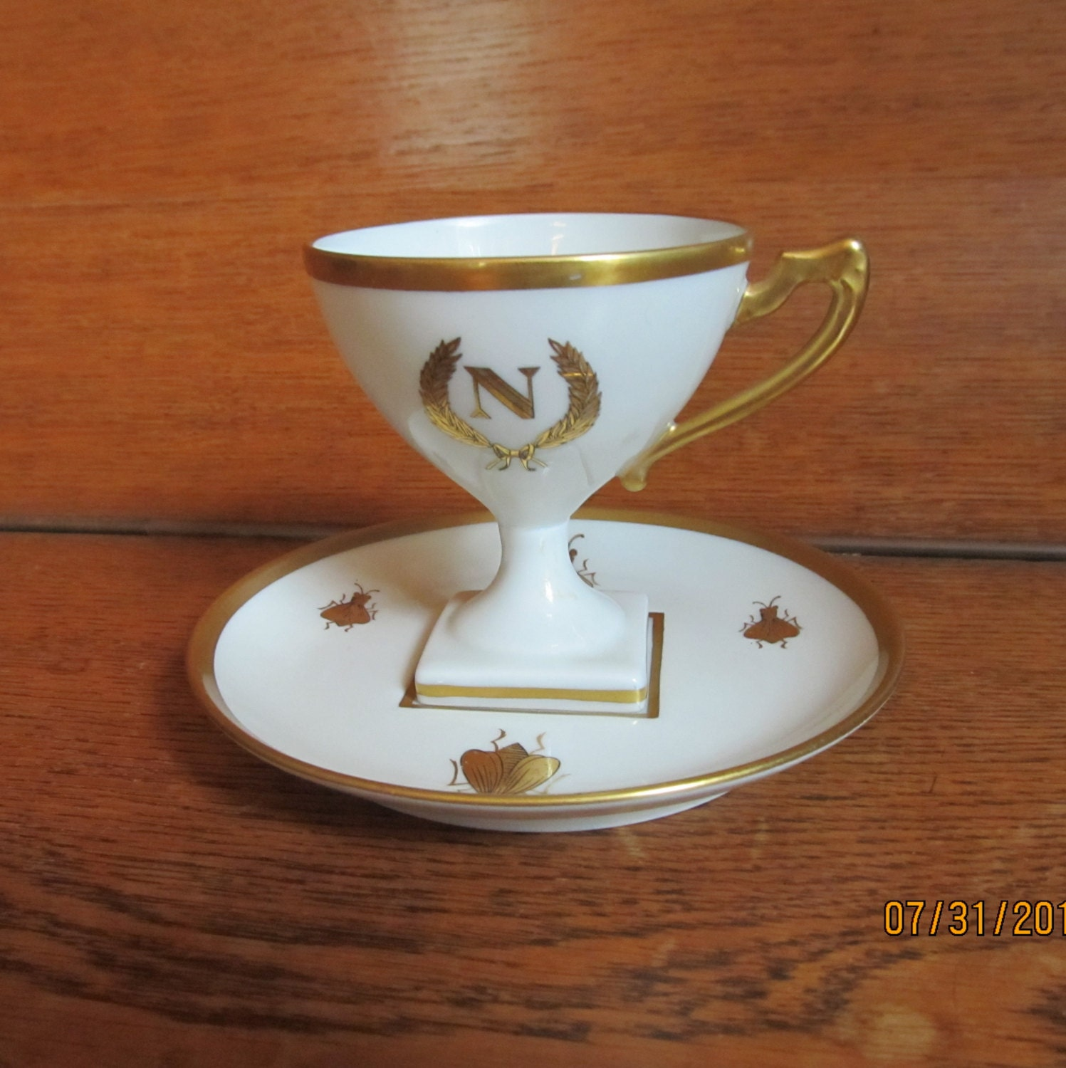 napoleon footed demitasse cup and saucer by chesapeakeheirlooms. Black Bedroom Furniture Sets. Home Design Ideas