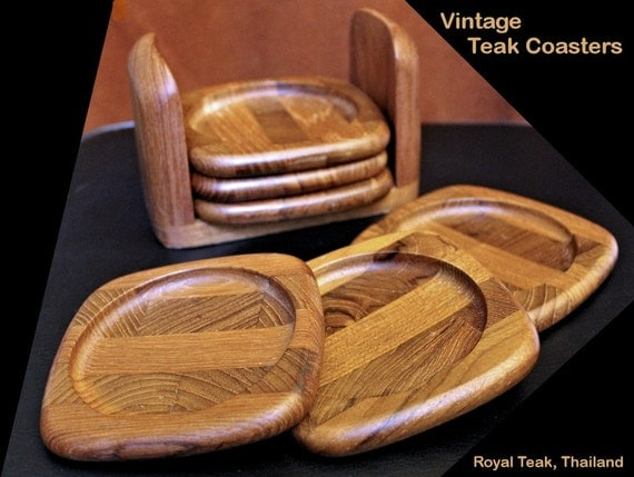 Handsome Royal Teak Coasters Set Of 6 Vintage Coasters