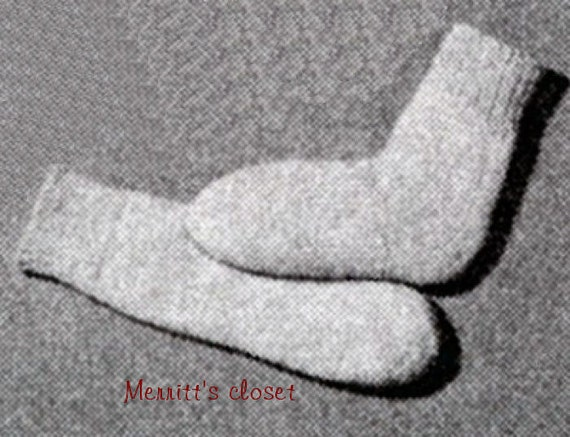 Heel-less Baby Socks Vintage Knitting Pattern INSTANT