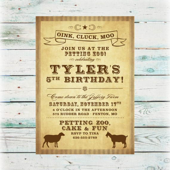 Printable Petting Zoo Birthday Unisex Birthday Invite