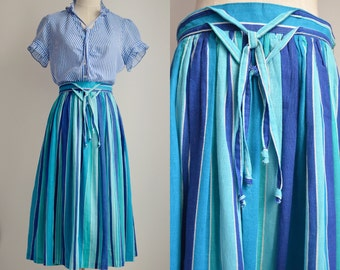 Cotton midi skirt in stripes of blue/azure/turquoise/white with pleated medium full flare, size S-M, spring/summer, made in Germany