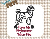 Portuguese Water Dog bag, I Love My Portuguese Water Dog embroidered on tote bag