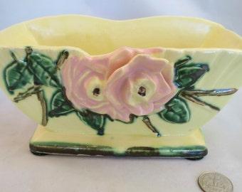 Vintage McCoy wild rose line charming yellow planter. C. 1952