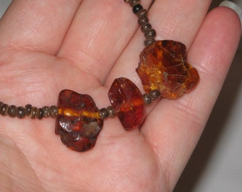 Natural Amber nugget necklace