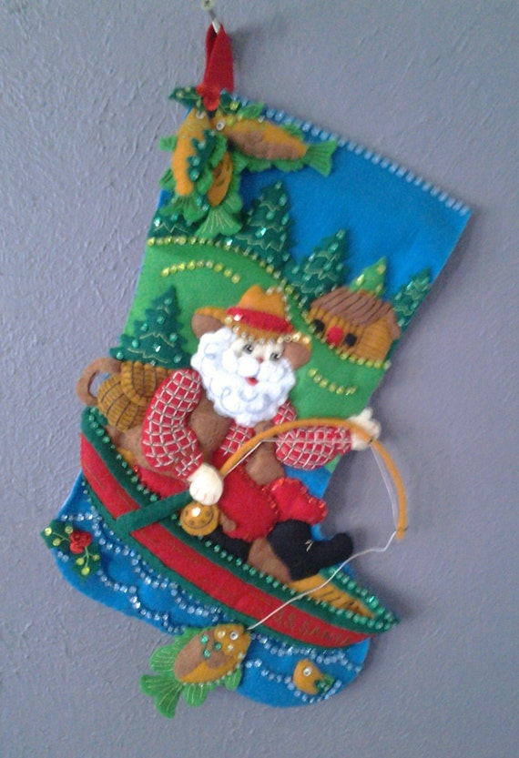 Santa has a fish on christmas stocking by childrensnest on for Fish christmas stocking