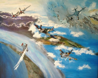World War II Plane Collage,  Print, 16 x 20, Reproduction, Blue color painting, Veteran Theme Artwork, Wall Art