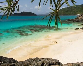 Beach Photography - Cinnamon Bay Beach US Virgin Islands Caribbean Water St John Island