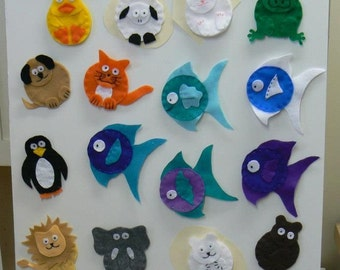 Finger Puppets variety - made from felt and handsewn