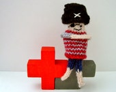 Knitted toy: Patch-Eye Pirate finger puppet / miniature knit doll, Fairy Tale & Fantasy