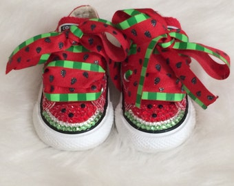 Converse Blinged with Swarovski Crystals Watermelon Shoes