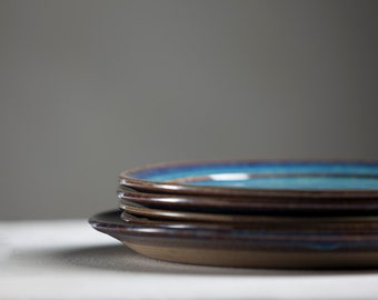 Side/First Dish Ceramic Plate, Winter Blue Glaze - Handmade Pottery Wheel Thrown-