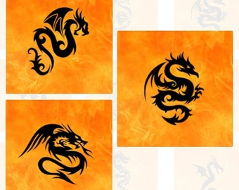 Fire Dragons Digital Collage Sheet One Inch Squares Instant Download Printable 1 inch Squares