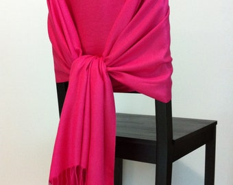 HOT PINK PASHMINA, Hot Pink Pashmina Scarf, Pashmina Shawl, Wedding Shawl, Pashmina Wrap, Bridesmaid Shawl, Wedding Favors, Chair Covers