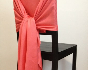 BRIGHT-CORAL PASHMINA, Pashmina Scarf, Pashmina Shawl, Wedding Shawl, Pashmina Wrap, Bridesmaid Shawls, Wedding Favors, Coral Chair Covers