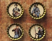 Set of Four Civil War Battle at Gettysburg Bottlecap Magnets