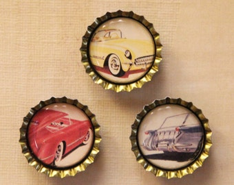 Set of Three Classic 1954 Chevrolet Automobile Bottlecap Magnets