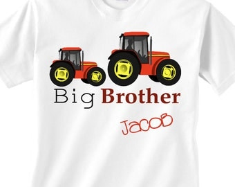 Personalized big brother tractor creeper/bodysuit -  personalized big brother tractor onesie