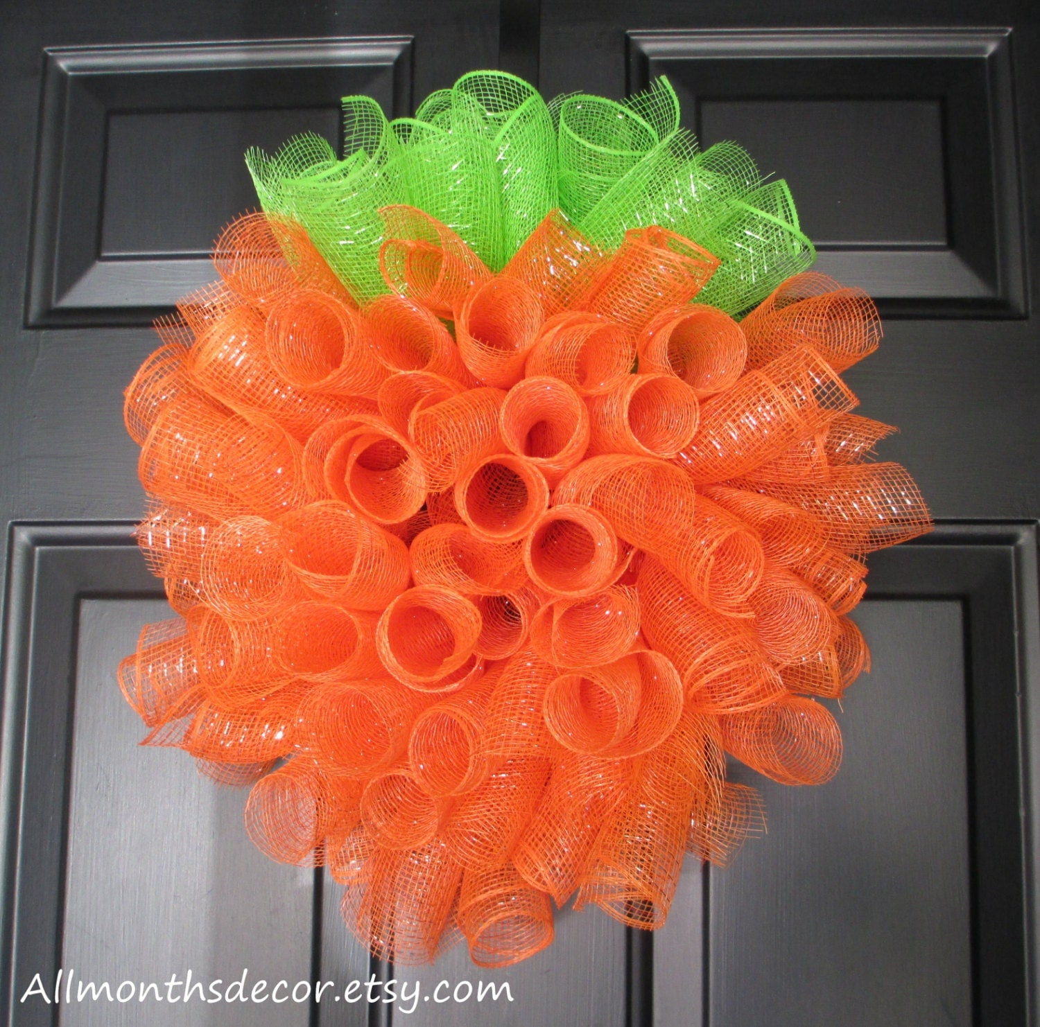 Items similar to pumpkin spiral deco mesh wreath orange for Autumn classroom decoration