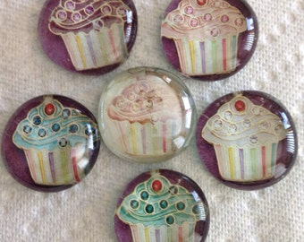 Set of 6 Cupcake glass magnets