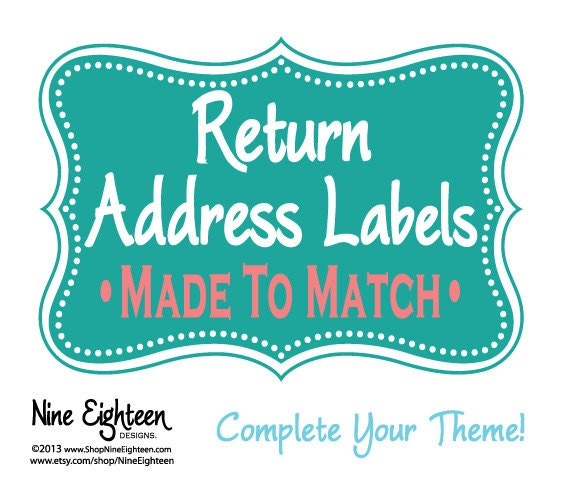 Return Address Labels Made To Match your custom invitation ...