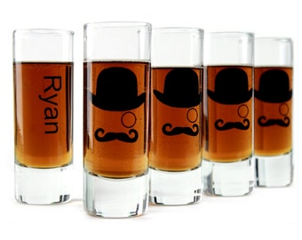 Groomsmen Gifts Wedding Favors Shooter Shot Glasses Set of 4 Gentleman Mustache Man