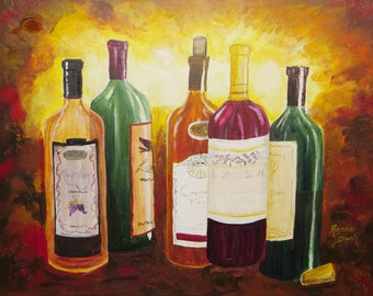 """Acrylic painting of large wine bottles with a European flair titled  """"Just Breathe""""5x7,8x10,11x14,16x24, wrapped canvas, note cards"""