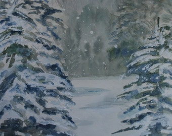 """This is a print of my original watercolor painting titled """" Serenity of fallen snow"""" 5 x 7, 8 x 10, 11 x 14, note cards"""