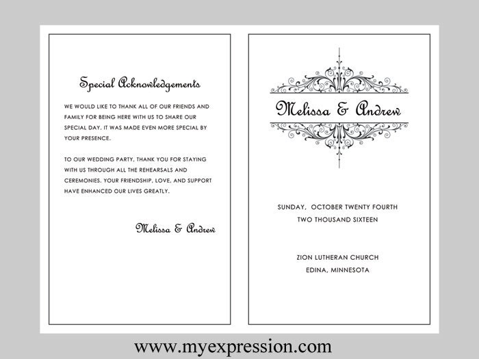 Wedding program template vintage filigree instant download for Event program template publisher