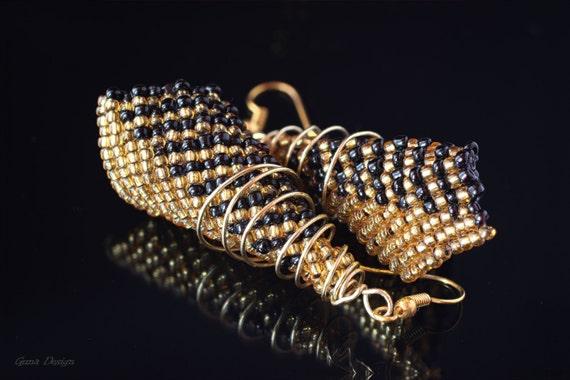 Black Golden Beaded Long Earrings