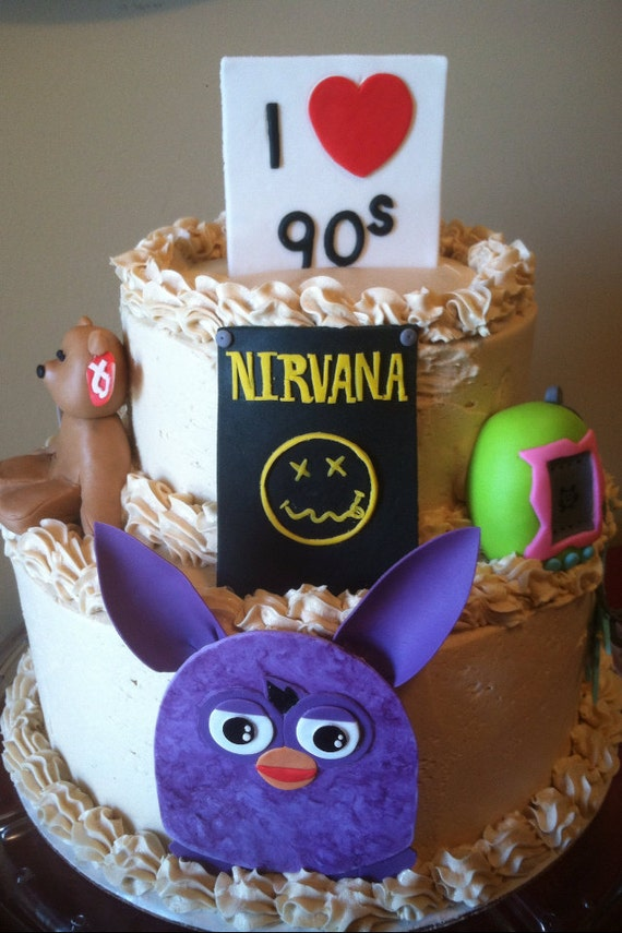 Items similar to 90 39 s themed fondant decorations on etsy for 90 s party decoration ideas