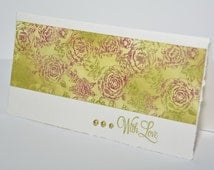 """Notecard """"Roses with love"""" greeting card, birthday card, hand stamped, roses, white, purple, green"""